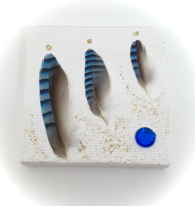 Mini Feathers Decorated Canvas and Small Easel