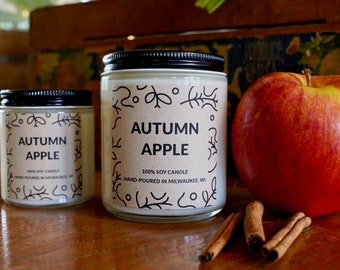 Fresh Apple Scented Soy Candle, With Free Handwritten Card