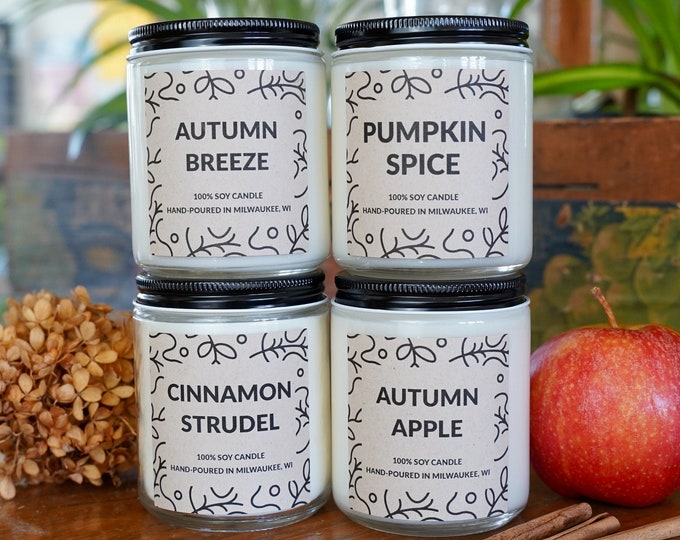 FOUR Autumn Candles Gift Box, Soy Candles, With free box of matches and handwritten card