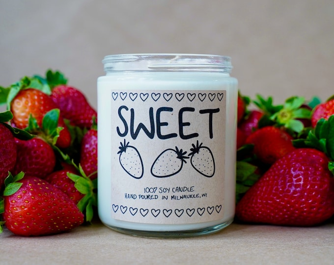 Sweet Strawberry Soy Candle, With Free Handwritten Card