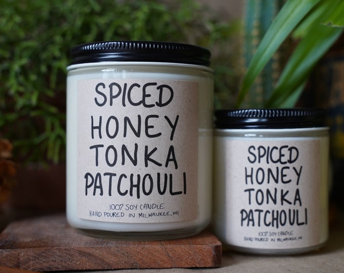 Spiced Honey Tonka Patchouli Soy Candle, With Free Handwritten Card
