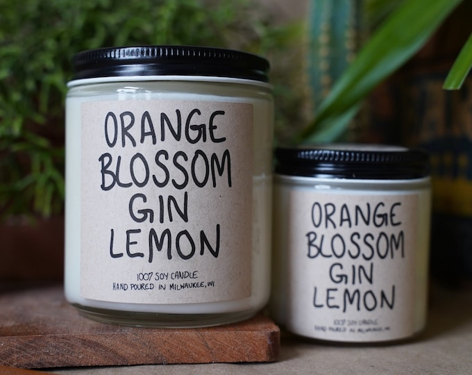 Orange Blossom Gin Lemon Soy Candle, With Free Handwritten Card