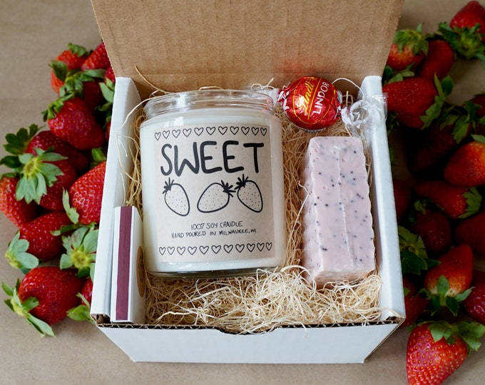 Strawberry Candle Gift Set, With Free Handwritten Card