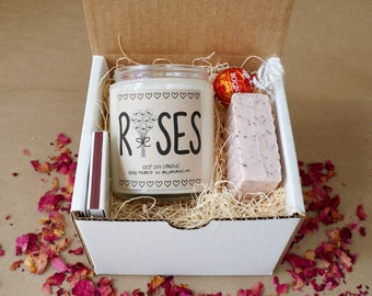 Roses Candle Gift Set, With Free Handwritten Card