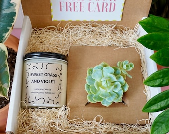 Succulent & Candle Gift Box, a Soy Candle with a Succulent
