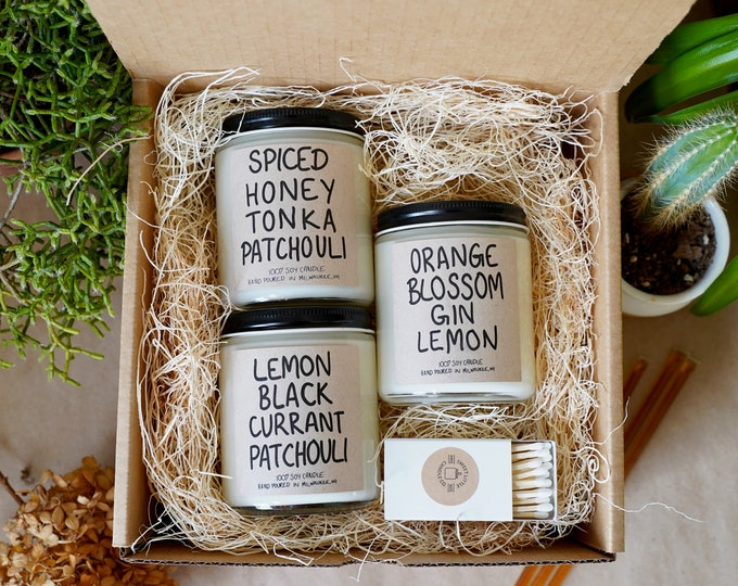 THREE Patchouli, Specialty Soy Candles Box, Mother's Day Gift, With Free Handwritten Card