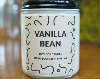 Vanilla Bean Scented Soy Candle, With Free Handwritten Card