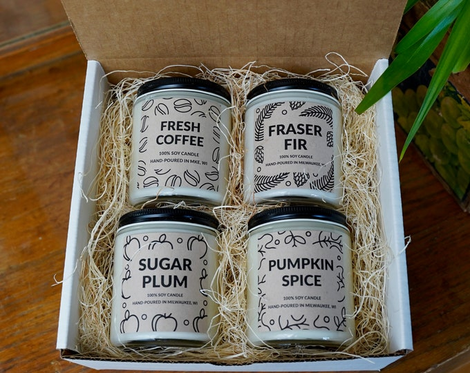 Pick any Four Candles Gift Box, Mother's Day Gift, Mix and Match Soy Candles, With Free Handwritten Card