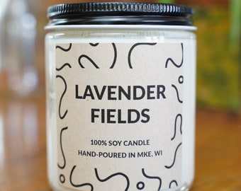 Lavender Fields Scented Soy Candle, With Free Handwritten Card