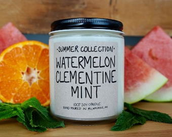 Watermelon Clementine Mint Scented Soy Candle, With Free Handwritten Card