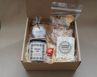 Mother's Day Gift Box, Bath Bomb, Bath Salts, Homemade Goat Milk Soap, Soy Candle