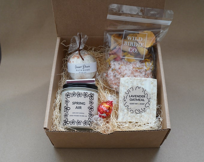 Extra Sweet Gift Box, Bath Bomb, Bath Salts, Homemade Goat Milk Soap, Soy Candle