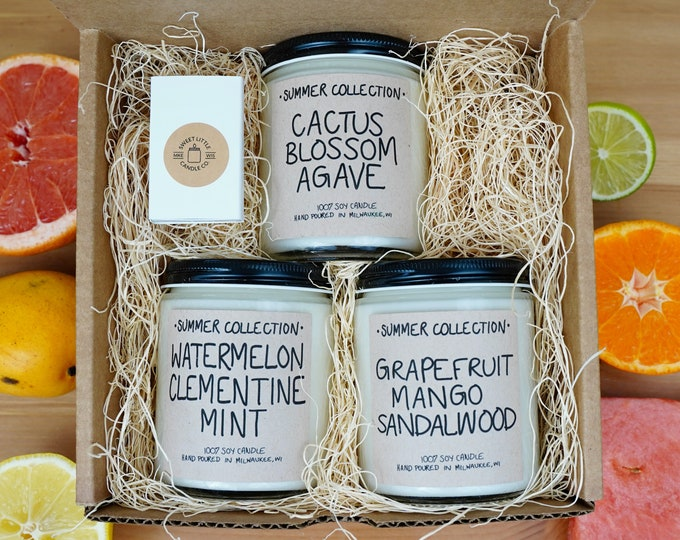 THREE Summer Scents, Specialty Soy Candles Box, With Free Handwritten Card