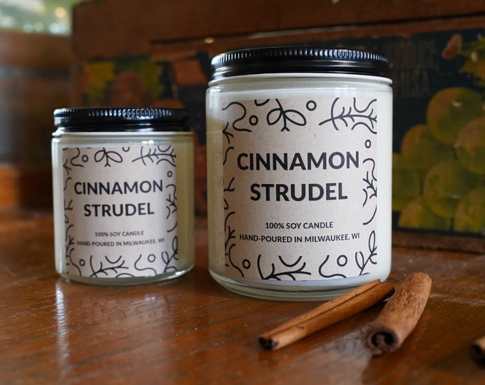 Cinnamon Strudel Scented Soy Candle, With free box of matches and handwritten card