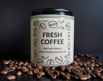 Fresh Coffee Scented Soy Candle, With Free Handwritten Card