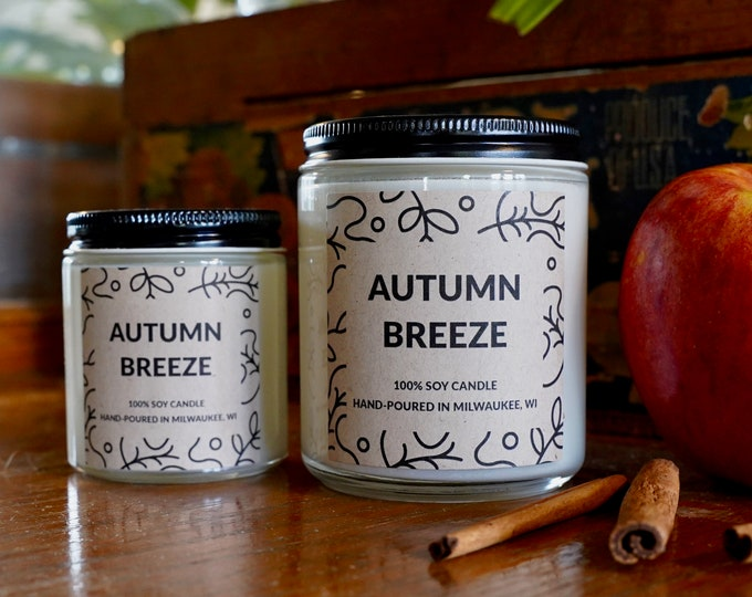 Autumn Breeze Scented Soy Candle, With Free Handwritten Card