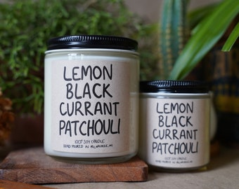 Lemon Black Currant Patchouli Soy Candle, With Free Handwritten Card