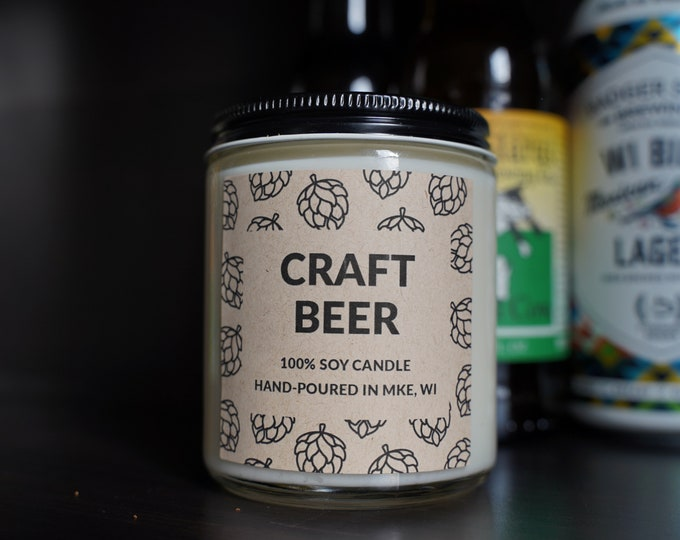 Craft Beer Scented Soy Candle, With Free Handwritten Card