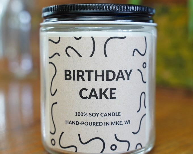 Birthday Cake Scented Soy Candle, With Free Handwritten Card