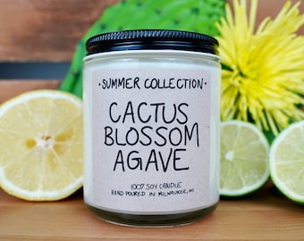 Cactus Blossom Agave Scented Soy Candle, With Free Handwritten Card