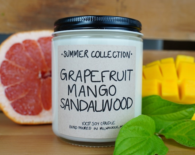 Grapefruit Mango Sandalwood Scented Soy Candle, With Free Handwritten Card