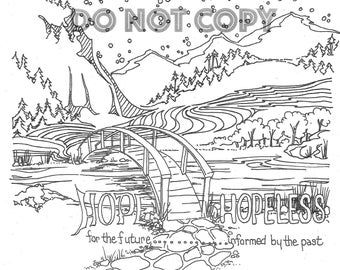 Hope or Hopelessness - Self-help coloring page hand drawn by a therapist, digital download