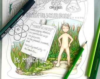 Breath & the Body - Self-help coloring page hand drawn by a therapist, digital download