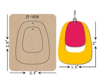 Leather Earring Cutting Die/ 2 INCH Duo   Hollow Earring  /Sizzix Compatible /  Manual Leather Cutting- JT1019
