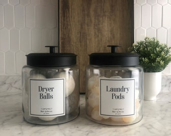 64oz + 96oz Laundry Jar   Laundry Collection   Dryer Balls, Laundry Pods, Scent Boosters, Dryer Sheets + Custom Labels