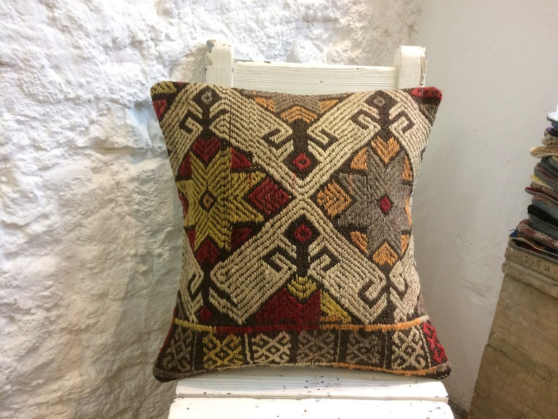 16x16 Southwestern Decor Turkey Cushion Kilim Pillow Turkish Vintage Items Couch Decorative Pillow Red Gray Navajo Throw Pillow Covers