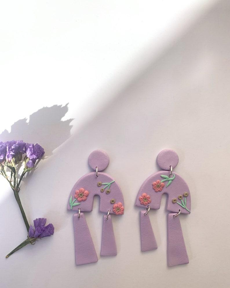 Clay Lavender Earrings Polymer Clay Floral Dangles Purple Earrings Statement Earrings Flowers Spring Flowers Handmade Earrings