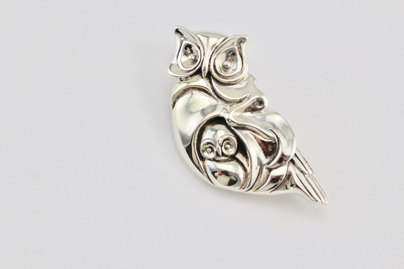 Art Deco Style Mother And Baby Owl BroochPendant In 925 Sterling Silver