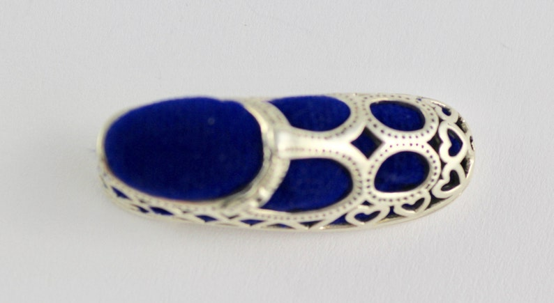 Victorian Style Hearts Shoe Pin Cushion 925 Sterling Silver