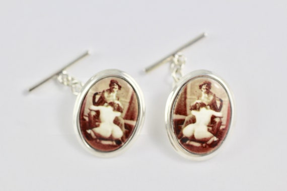 Victorian Style Enamel Erotic Artist Cufflinks 925 Sterling Silver Mens Gift