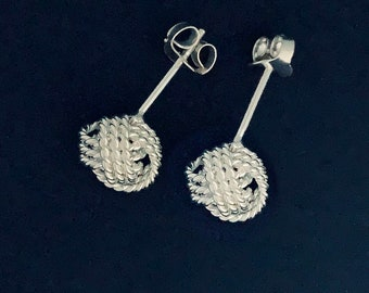 Silver Knot Stud Earrings Small Stud Earrings Wedding Earrings Simple Earrings Ball Stud Earrings Statement Earrings