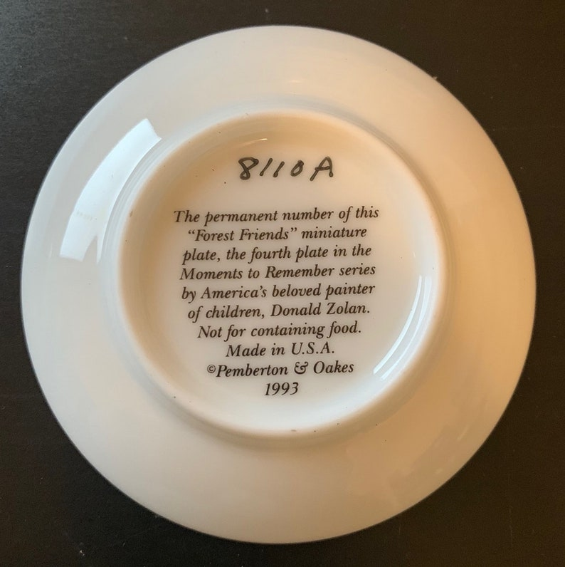 Donald Zolan Mini Collector Plate 1993 Forest Friends