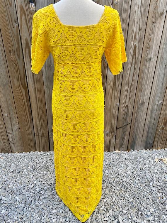 Yellow Crochet 1970s Maxi Dress - image 4