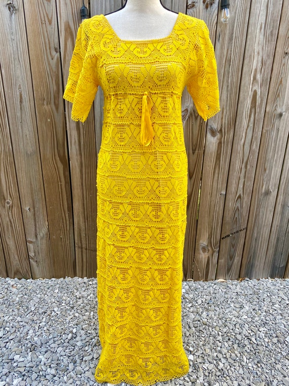Yellow Crochet 1970s Maxi Dress