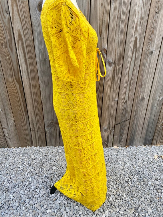 Yellow Crochet 1970s Maxi Dress - image 3