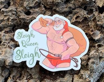"Sleigh Queen, Sleigh Santa 3"" x 2.35"" Die-cut Vinyl Sticker"