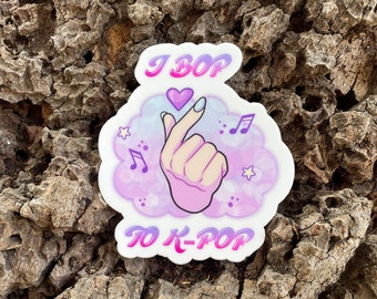 "I Bop to K-Pop! 2.63"" x 3"", high-quality, vinyl die-cut sticker"