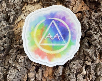"""Alcoholics Anonymous Watercolor Logo 2.94"""" x 3"""", high-quality, vinyl die-cut sticker"""