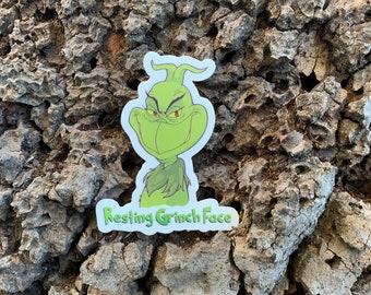 """Resting Grinch Face 3"""" x 2.36"""" Die-cut Vinyl Sticker"""