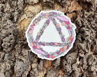 "Alcoholics Anonymous Flower Logo 3"" x 2.87"", high-quality, vinyl die-cut sticker"