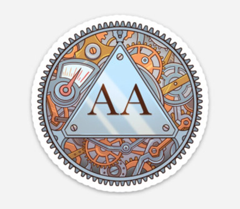 Alcoholics Anonymous Mecha Logo 3 x 3 image 0