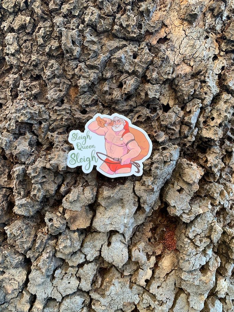 Sleigh Queen Sleigh Santa 3 x 2.35 Die-cut Vinyl Sticker image 0