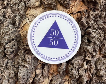 """Alcoholics Anonymous 50in50 Logo 3"""" x 3"""", high-quality, vinyl die-cut sticker"""
