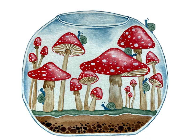 Snail and Mushroom Terrarium Magnet