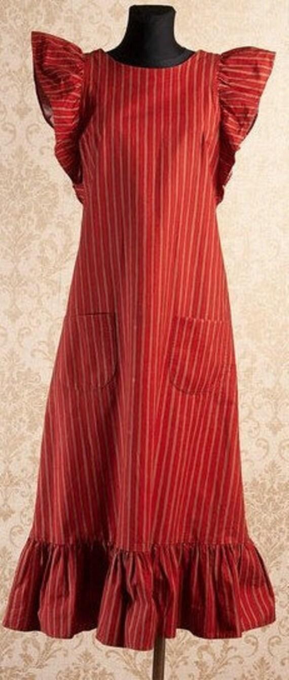 70s Vintage Brick red Marimekko Apron dress S