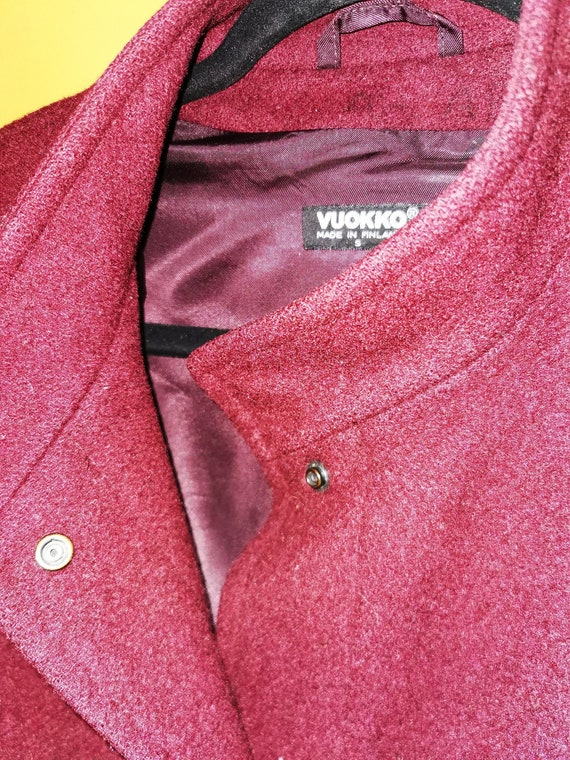 VTG 80's Vuokko Nurmesniemi Maroon Pure Wool Line… - image 3